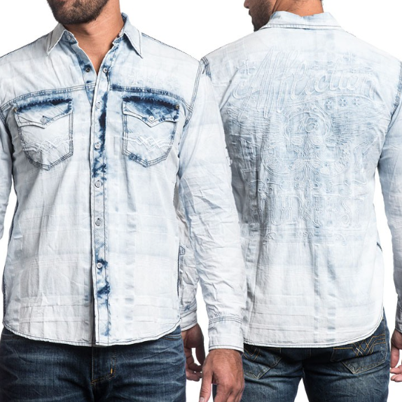 AFFLICTION Men Embroidered Button Down Shirt TAKE A SWING Biker UFC Roar BKE $88