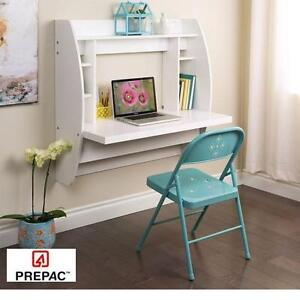 NEW PREPAC FLOATING DESK STORAGE WHITE - WALL MOUNTED - OFFICE DESKS FURNITURE DECOR BEDROOM KIDS ROOM STUDY WORK