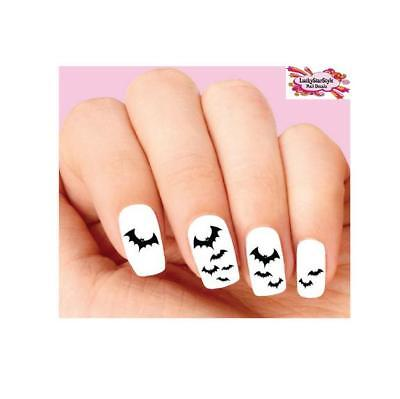 Waterslide Nail Decals Set of 20 - Halloween Black Bats Flying Assorted - Halloween Black Nails