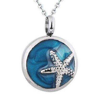 Starfish On Blue Circle Cremation Jewelry Memorial Keepsake Pendant & 20