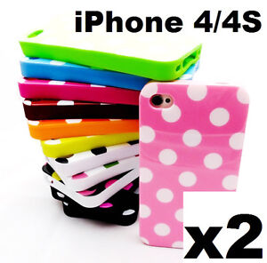 2x Candy Cute Polka Dots Soft Gel Silicone Rubber Case Cover for iPhone 4 4S 4G