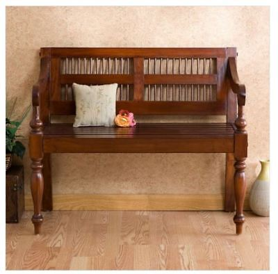 Entryway Bench Seat Wood Hallway Foyer Bedroom Walnut Slat Back Vintage NEW