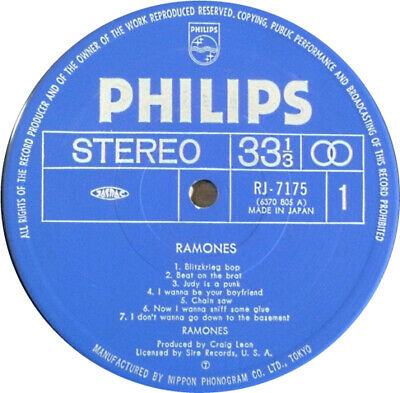 RAMONES Ramones JAPAN LP Philips PUNK 1976 no obi NEAR MINT RJ-7175