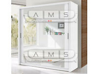 Brand New 2 Door Mirrored Sliding Wardrobe in White, Black, Wenge, Walnut - Shelves & Rails incl