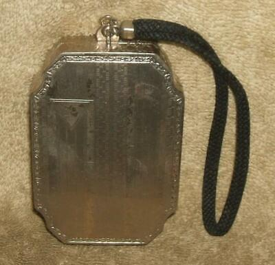 1920s Handbags, Purses, and Shopping Bag Styles 1920's Art Deco Silver Plate Hand Purse & Compact $175.00 AT vintagedancer.com