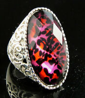 Shiny Oval Leopard Lucite Noble Fancy Unique Hollow Ring-SIZE 8