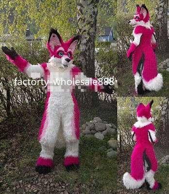 Red Long Fur Husky Mascot Costume Adult Wolf Fox Dog Costume Dress Halloween