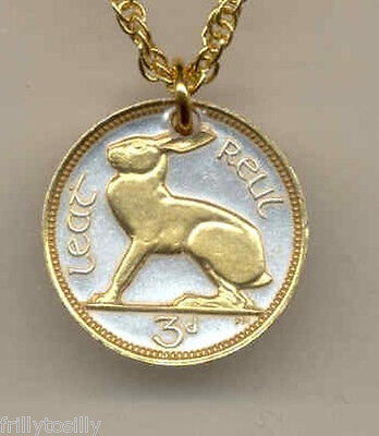 "J&J Coin Jewelry  18"" Gold on Silver Irish  Rabbit  3-Pence- Coin Necklace"