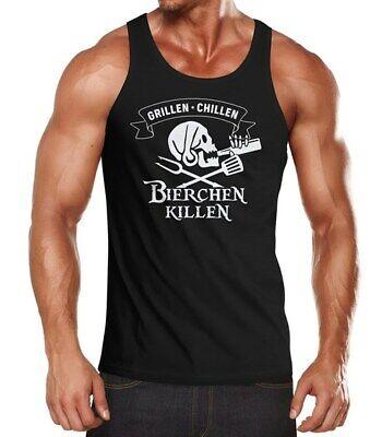 Herren Tanktop Grillen Chillen Bierchen Killen Pirat Skull Bier Spruch lustig