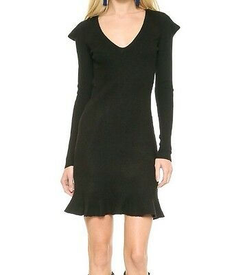 McQ- ALEXANDER McQUEEN WOMEN'S FELTED V NECK SWEATER DRESS BLACK XS $505 NWT