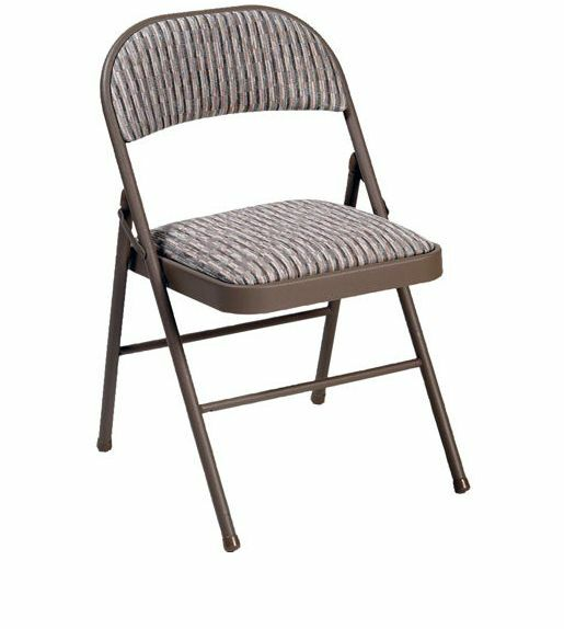 Deluxe Comfort Padded Fabric Folding Chair in Beige/Sand MECO