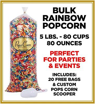 Bulk Popcorn (Pops Corn BULK/WHOLESALE RAINBOW POPCORN - 5 LBS-80 CUPS-80 OZ-FREE SCOOPER!! )