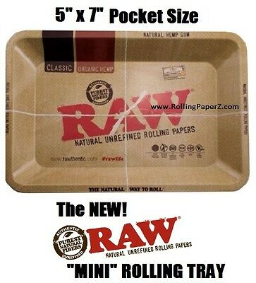 """RAW """"MINI"""" Rolling Paper Vintage Style ASHTRAY OR Cigarette ROLLING TRAY 7""""x5"""""""