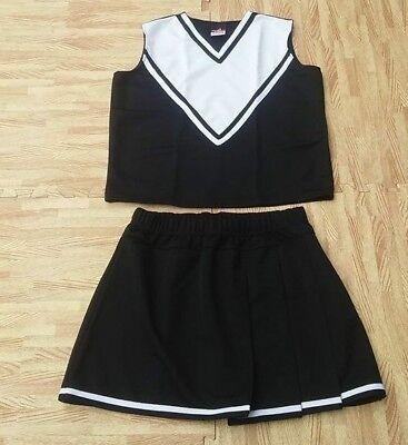 ADULT PLUS SIZE BBW BLACK CHEERLEADER UNIFORM TOP SKIRT 42-44/36-39 Cosplay - Bbw Cheerleader