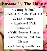 Experienced Nanny With First Aid Available now!