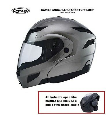 GMAX GM 54S Modular Motorcycle Titanium Helmet BMW Buell Ducati Cruiser Fullface