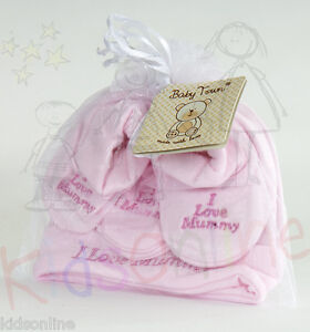 Newborn Baby Infant Girl Boy Unisex Hat Mitten Booties Gift Set I Love Mummy NEW