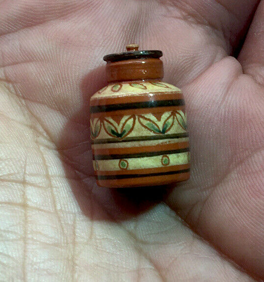 IGMA Artisan Jane Graber Miniature Redware Sgraffito Lidded Canister: 1:12 Scale