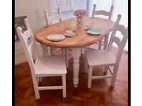 Pine table and chairs, shabby chic chalk painted.