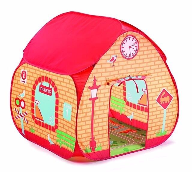 Childrens Pop up train station theme tent.