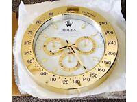 Rolex wall clock, Large size metal clock, Gold & white Daytona