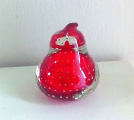 Vintage Paperweight Red Glass Pear Shape VGC