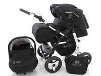 3 in 1 Pram Combi Stroller, black colour, in very good condition!