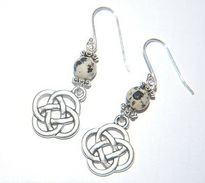 Attractive Spotty DALMATIAN Gemstone & CELTIC KNOT Sterling Silver Earrings -