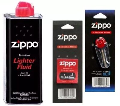 4 Zippo 125 ML Original Lighter Fuel Fluid Petrol 1 X Wick X 6 Flints UK SELLER