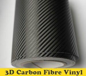 3D Carbon Fibre Vinyl Wrap (Air/Bubble Free) Black Multi sizes