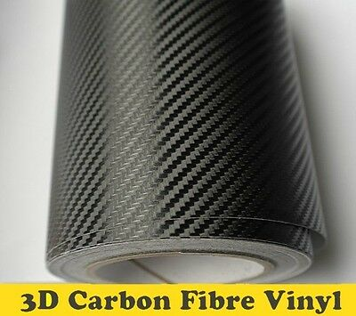 3D Carbon Fibre Vinyl Wrap (Air/Bubble Free) Black Multi sizes