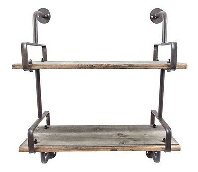 Rusty Industrial Wall Shelf with Wooden Planks RUSTIC VINTAGE DECOR Country