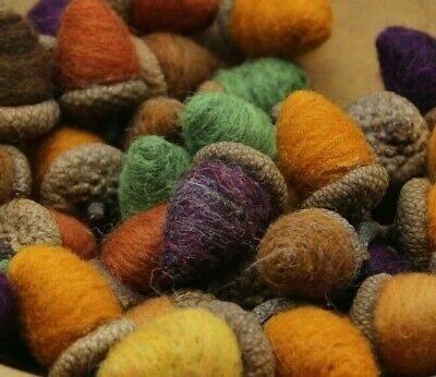 Autumn Fall 12 Needle Felted Acorns bowl Fillers Folk Art Melissa Philbrook USA