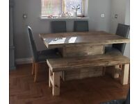 Handmade Chunky Rustic 5ft Dining Table and Bench Clear Finish 4ft 6ft 7ft 8ft