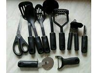 Large bundle of good quality black kitchen utensils