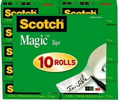 Scotch Magic Tape 810 With 34 Core 34 X 1296 10 Pk. - Transparent 3m
