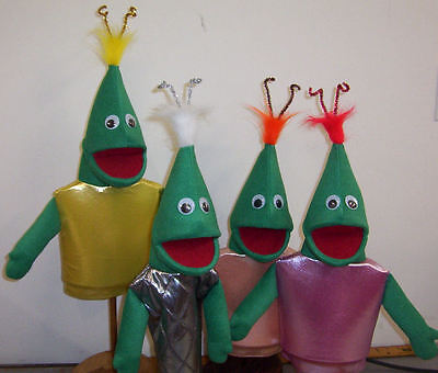 Set of 4 Green Alien Kid Puppets-outer space,VBS ministry, education - Space Vbs