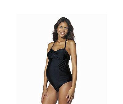 Liz Lange Maternity Womens Twist Bandeau One Piece Swimsuit Black Size M