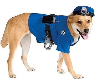 Haustier Hund Katze Polizistin Cop Halloween Kostüm Outfit Verkleidung S-XL (Katze Kostüm Männlich)