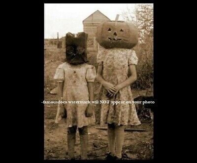 Halloween Pumpkins Photos (Vintage Creepy Children Halloween PHOTO Pumpkin Head/Owl Costume Freak Scary)