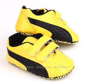 Infant Baby Boy Yellow & Black Sneakers Pram Shoes Size 0