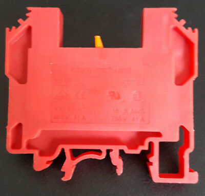 Din Rail Terminal Disconnect Block - Red Din Rail Mount - 25 Blocks