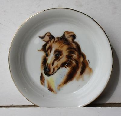 Border Collie Dog Dish-Coaster Ceramic-Porcelain Hand Painted Made in Japan-VTG