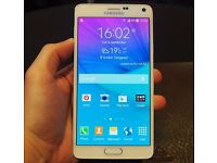 """Samsung Note 4, White, 32gb, Factory Unlocked, Mint Condition """"MOST TRUSTED SELLER"""" Reduced £239"""