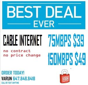 75MBPS $39 NO CONTRACT UNLIMITED INTERNET ! Internet and IPtv