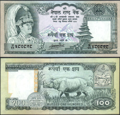 NEPAL 1987 (ND) Rs 100 King BIRENDRA, Rhino, Banknote Pick 34c, Signature 11 UNC
