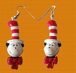 Funky cat in the hat head earrings dr seuss character for Cat in the hat jewelry