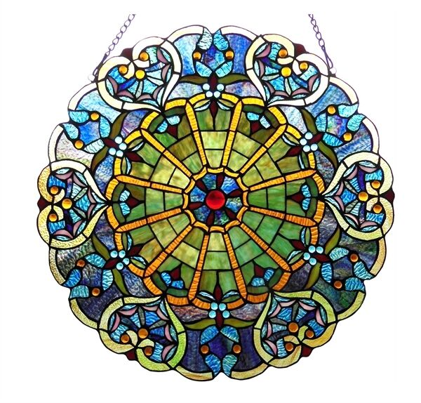 "Stained Glass Victorian Window Panel  23"" Round Tiffany Style  ~ONE THIS PRICE~"