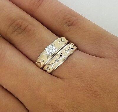 Round Diamond Engagement Bridal Ring Set Wedding Band 14k Yellow White Gold 4MM Round Bridal Set