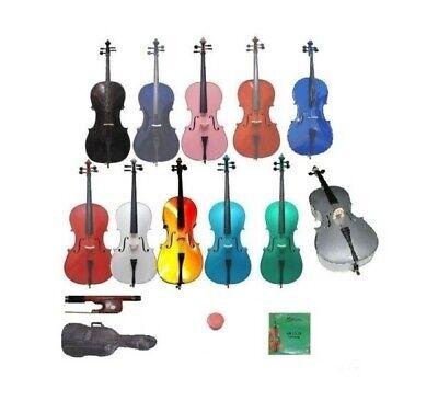 NEW 4/4 3/4 1/2 1/4 1/8 1/10 1/16 STUDENT CELLO,BAG,BOW,STRINGS,ROSIN,BRIDGE (Student 2 Cello)